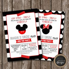Classy Mickey or Minnie Mouse Birthday by DigitalStudioDesigns