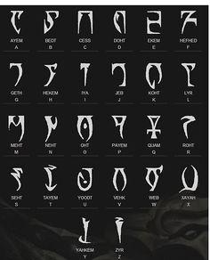 Lettering Fonts Discover Skyrim dragon alphabet Poster by Isch Alphabet Code, Alphabet Poster, Alphabet Symbols, Cursive Alphabet, Alphabet Design, Ancient Alphabets, Ancient Symbols, Skyrim Dragon, Minecraft Banner Designs
