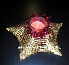 Porta candele in carta riciclata e intrecciata