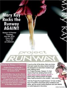 Project Runway ~ Contact me for more info and details www.marykay.com/parrisellis