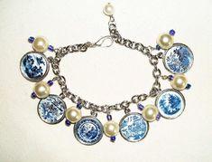 BLUE WILLOW Plate Charm Bracelet at www.luulla.com