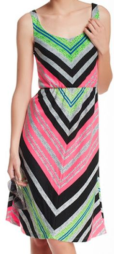colorful chevron knit dress