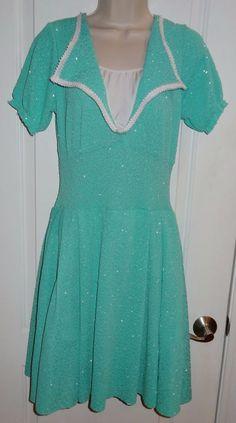 Dance Costume Dress Art Stone Lyrical Ballet Sea Foam Green Sparkle Sz Med M KH #ArtStone