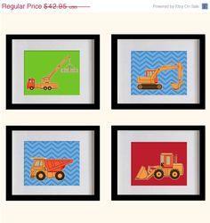 ON SALE Construction Trucks Nursery Art Print  by MadeForYouPrints, $37.95