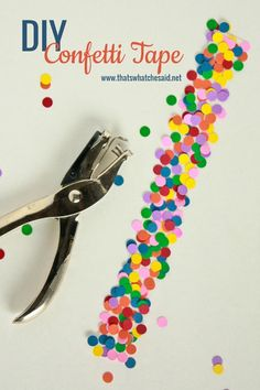 Make your Own Confetti Tape! So easy and so fun! Customizable for any colors or occasion! #crafting #papercrafts #DIY