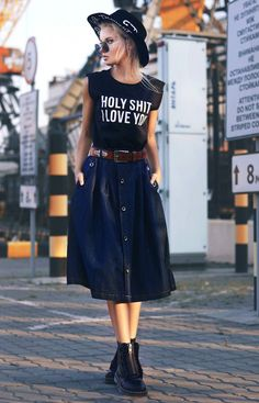 """Round Sunglasses, """"Holy sh*t I Love You"""" T-shirt, Denim Skirt & Dr Martens Boots - http://ninjacosmico.com/29-grunge-outfit-ideas-fall/"""