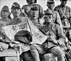 Description IJA soldiers with the regiment signed War flag, China 1944