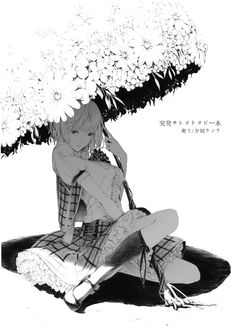 Anime picture touhou kazami yuuka sousou (sousouworks) single tall image short hair fringe simple background white background sitting holding full body parted lips inscription monochrome looking down girl skirt flower (flowers) socks 295526 en Anime Art Girl, Manga Art, Manga Anime, Anime Girls, Dibujos Pin Up, Character Art, Character Design, Anime Sketch, Manga Characters