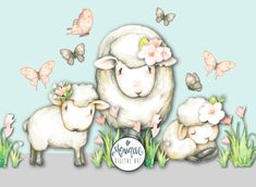 Sheep clipart, sheep watercolor, farm animals, painted, floral, planner stickers, etsy shop resources, planner pages, cute sheep, invitation by MoniqueDigitalArt on Etsy