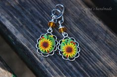 Oval earrings with Sunflower. Polymer clay, applications felegree.