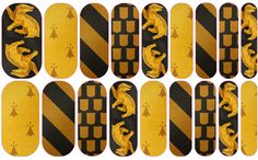 Hufflepuff nail wraps. Able to be ordered at dmays.jamberrynails.net or through my Facebook page: DeAnna Mays - Jamberry Independent Consultant