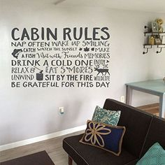 Cabin Rules, Cabin Rules sign, Cottage, Beach house, Lake house, Camping, Fish, Deer, Relax, Grateful, Wall decal, Vinyl Decal HH2060. Cabin Rules Nap Often, Wake up smiling, Catch a fish, Watch the sunset, make memories, visit with friends, drink a cold one, enjoy the wildlife, relax and unwind, eat s'mores, sit by the fire, be grateful for this day ~~PRODUCT DESCRIPTION~~ * Vinyl wall decal * Colors can be selected from color palatte from photo listing * Any sample photo used is for...