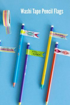 7 Pencil Crafts for Kids: Washi Tape Pencil Flags