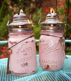 Upcycled Repurposed Ball Kerr Mason Pint Jar Set Vase Pink Annie Sloan Chalk Paint Skeleton Keys