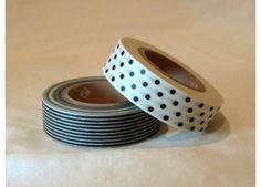 washi tape black and yellow patern | Japanese Pattern Washi Masking Tape - Black and White Stripe and Polka ...