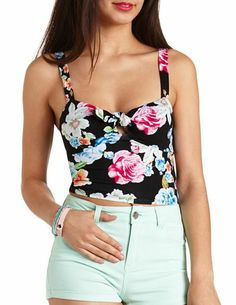 Knotted Floral Print Crop Top: Charlotte Russe