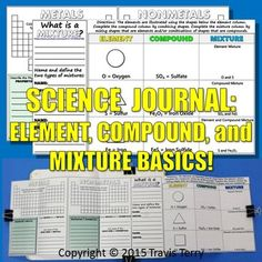 This is an expandable guide about the basics of Elements, Compounds, and Mixtures!NOTE: This is the upgraded version of the Ultimate Element Study Guide that I also have in my store. The old guide is more or less for note-taking, while my new guide requires the student to do some research, classification, interaction, and answer questions about the topics.Using two sheets of legal paper (8.5x14in) this foldable will fold up to fit onto a single page in a composition notebook.