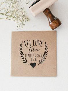Custom Let Love Grow Seed Favor Wedding Rubber Stamp by RedCloudBoutique