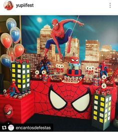 Birthday party decorations ideas for men spider man 50 Ideas - Spider-Man party - Spider Man Party, Spiderman Theme Party, Superhero Birthday Party, Spiderman Birthday Ideas, Avenger Party, Manly Party Decorations, Birthday Party Decorations, Balloon Decorations