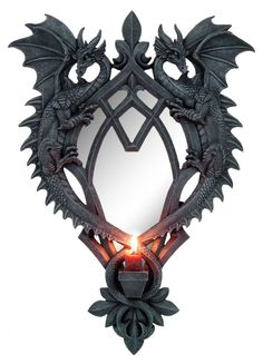 Gothic Pieces Beguiled - Stunning Dragon mirror, two dragons frame this wall mounted mirror with a candle holder between their tails. Fantasy Dragon, Dragon Art, Dragons, Goth Home, Gothic Furniture, Black Furniture, 3d Cnc, Dragon's Lair, Gothic House