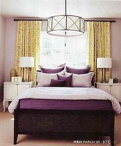 New Bedroom bedding - purple w/ ivory pillows