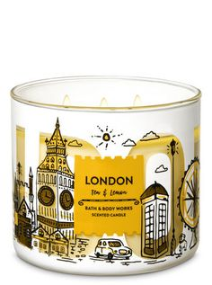 Bath and Body Works White Barn London Lemon and Tea 3 Wick Candle Ounce City Scene Label Bathroom Candles, Bath Candles, 3 Wick Candles, Scented Candles, Candle Jars, Bath N Body Works, Bath And Body Works Perfume, Large Candle Holders, Aromatherapy Candles