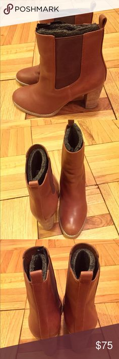 C Wonder Leather Booties Cute tan leather Chelsea Boots with stretch ankle allowing for easy fit. Like new - only worn once or twice inside around the office. C Wonder Shoes Ankle Boots & Booties
