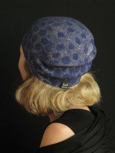 Navy Cloche Hat Handmade Nuno Felt Merino by TrishRaineFelting