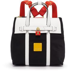 Henri Bendel Jetsetter Mini Convertible Color Blocked Backpack ($250) ❤ liked on Polyvore featuring bags, backpacks, black multi, zip lock pouch, backpack strap pouch, nylon zipper pouch, mini nylon backpack and water resistant backpack