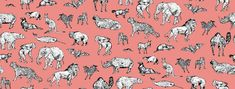 Lots of Animals Pink - Wall Mural & Photo Wallpaper - Photowall Standard Wallpaper, Modern Wallpaper, Perfect Wallpaper, Pink Wallpaper, Custom Wallpaper, Photo Wallpaper, Wall Wallpaper, Designer Wallpaper, Wallpaper Paste