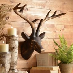 Bronze Deer Head Wall Plaque, birch candles