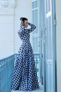 long blue plaid dres