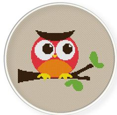Buy 4 get 1 free ,Buy 6 get 2 free,Cross stitch pattern, PDF,owl,ZXXC0148. $4.50, via Etsy.