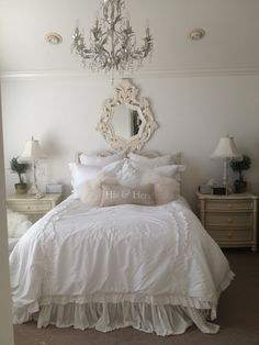 bedding, matching tables, chandelier, and mirror, bedside chair, and fur!