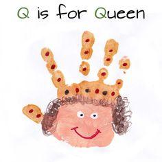 Mommy Minutes: ABC Handprint Art for the whole alphabet Letter Q Crafts, Abc Crafts, Alphabet Crafts, Alphabet Art, Daycare Crafts, Bible Crafts, Toddler Crafts, Crafts For Kids, Arts And Crafts