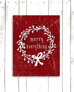 Christmas decorations graphic art red & white ToniKami Ðℯck Ʈհe HÅĿĿs #Christmas DIY crafts rustic etsy.com
