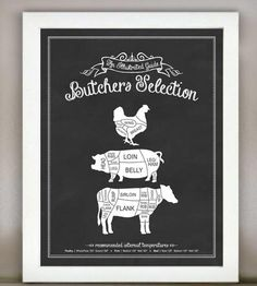 Butchers Selection Illustrated Kitchen Print | Functional art for the kitchen in a vintage-inspired design. T... | Printmaking