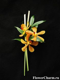 Contemporary orange orchid boutonniere by http://www.flowercharm.ru/services/wedding/butonerka.html