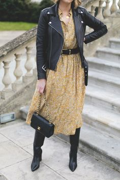 Emma Hill style, yellow midi dress, black leather biker jacket, black waist belt, black vintage chanel timeless bag, knee high block heel boots-7