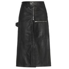 Vetements Leather Skirt (36.138.535 VND) ❤ liked on Polyvore featuring skirts, black, knee length leather skirt and leather skirt