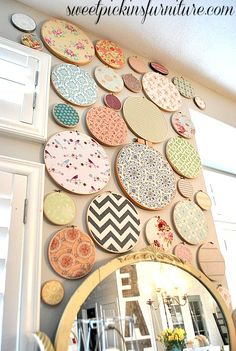 Sweet Pickins Embroidery Hoop Art - very pretty display craft room decor Embroidery Hoop Decor, Embroidery Art, Embroidery Hoop Nursery, Creative Embroidery, Simple Embroidery, Love Craft, Sewing Rooms, Fabric Scraps, Diy Home Decor