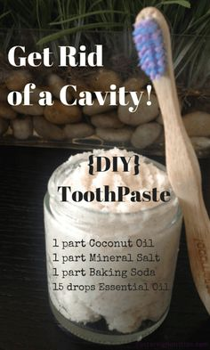 Get Rid of a Cavity and DIY toothpasteAmazingly Simple and Effective Homemade Toothpaste 1 part Baking Soda 1 part colored mineral salt we use Celtic Sea Salt or Pure Himalayan (not the white refined) For a creamy paste: 1 part Coconut oil to the mix (e Oral Health, Dental Health, Health Tips, Teeth Health, Dental Care, Public Health, Gum Health, Dental Hygiene, Reverse Cavities