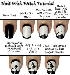 Nail Wish: Witches and Bats Tutorial. Perfect for those Halloween parties!! Nails Art Tutorials, Diy Witches, Diy Fashion, Nails Design, Fashion Tips, Witches Nails, Nails Art Design, Nails Tutorials, Halloween Nails