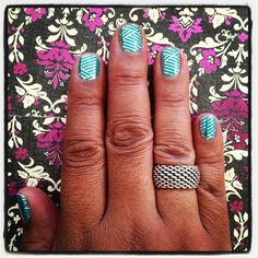 Turquoise & silver crisscross Jamberry Nail Wraps Buy 3 get 1 free!! order now and choose mystery hostess at checkout to be entered to WIN all the hostess rewards for the MYSTERY HOSTESS PARTY! #manicure, #jamberrynails  www.jamminmandie.jamberrynails.net