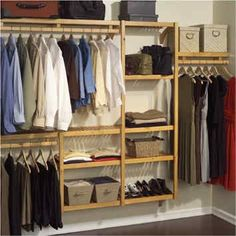 Organize your closet in style with this John Louis Home standard closet shelving system. Made from solid wood with a honey maple finish and offering multiple configuration options, this closet system is luxurious and space-saving. Wood Closet Organizers, Closet Storage Systems, Home Storage Solutions, Shelving Systems, Laundry Room Storage, Closet System, Bedroom Storage, Closet Organization, Storage Ideas
