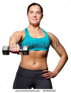Female exercise with free weights to build a toned and healthy figure