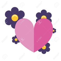 love romantic heart flowers decoration vector illustration , #Aff, #heart, #romantic, #love, #flowers, #illustration