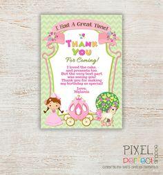 Princess THANK YOU card, Princess Birthday, Princess Birthday Invitation, Princess, Princess Birthday Party, Princess Party, Pink, Harlequin