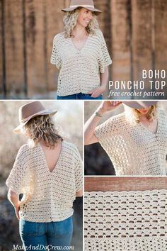 Ideas Boho Made from two simple rectangles, this poncho-style summer crochet top will give your outfits a boho vibe all season. Free crochet pattern using the Iris Stitch and the Boxed Shell Stitch, featuring Lion Brand Yarn LB Collection Cotton Bamboo. Crochet Bolero, Boho Crochet, Gilet Crochet, Crochet Blouse, Easy Crochet, Free Crochet, Knit Crochet, Crochet Style, Crochet Ideas