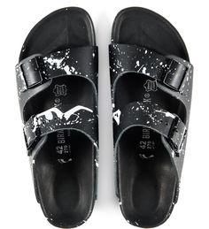 55DSL x Birkenstock Monterey slip-on sandal in white splattered black leather http://store.hypebeast.com/brands/55dsl/55dsl-x-birkenstock-monterey-sandal